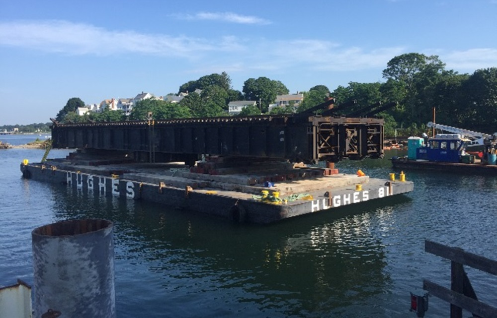 The Beverly drawbridge's old span was floated out