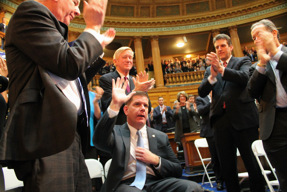 Boston Mayor Martin Walsh waved as audience members in the House Chamber applauded him after he was mentioned by Gov. Baker during the 2017 State of the Commonwealth speech. [Sam Doran/SHNS/File 2017]