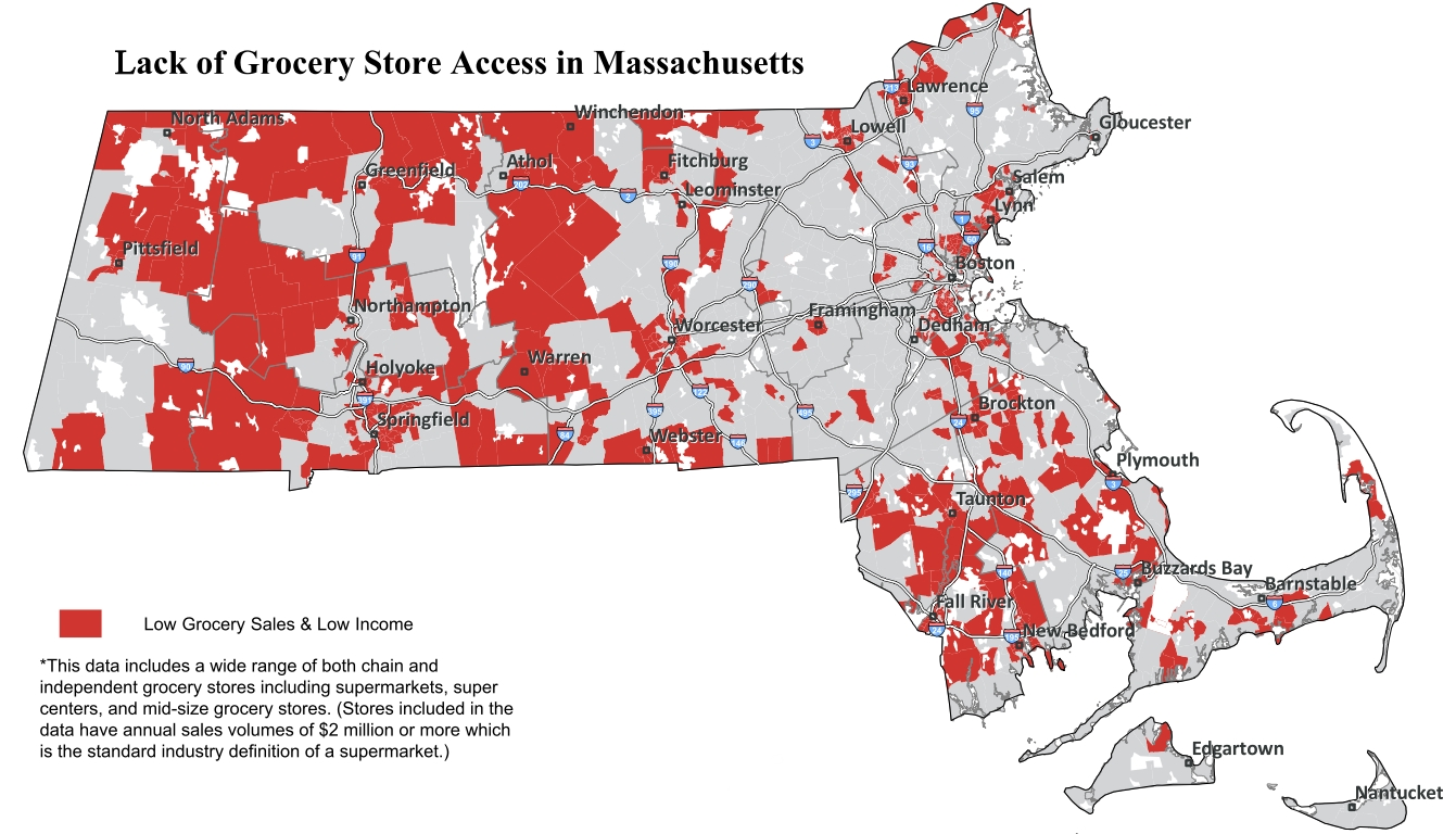 "the massachusetts public health association on wednesday released a mapdepicting the state's ""grocery gap"" or areas with both lower incomes and alack of . where the food deserts are  commonwealth magazine"
