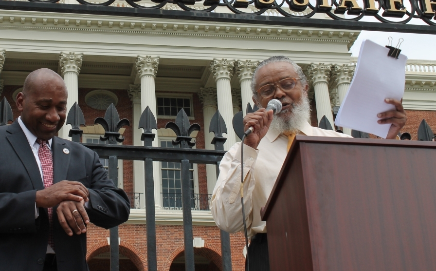 At a rally in front of the State House Wednesday m