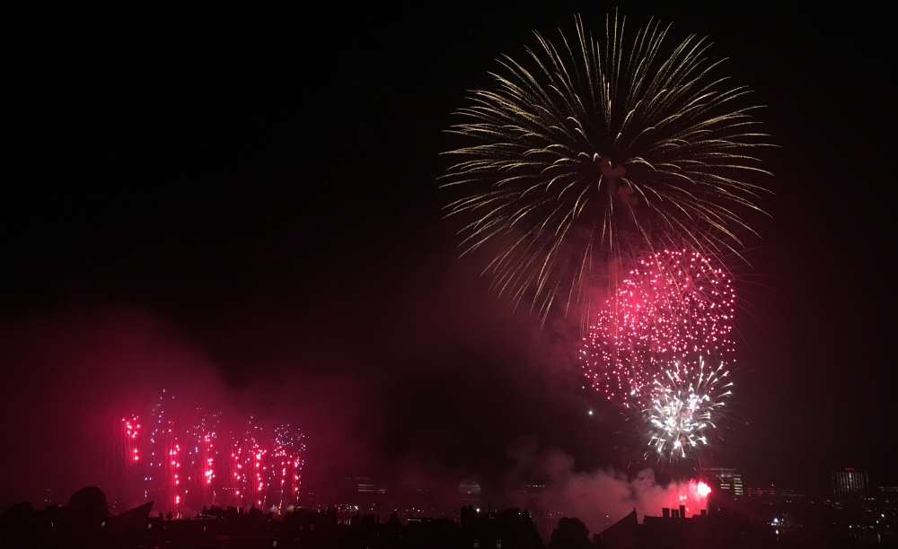The night sky was illuminated over the Charles River during the 2017 Boston Pops Fireworks Spectacular. The Pops have moved their 2020 Fourth of July celebration online. [Photo: Sam Doran/SHNS/File 2017]