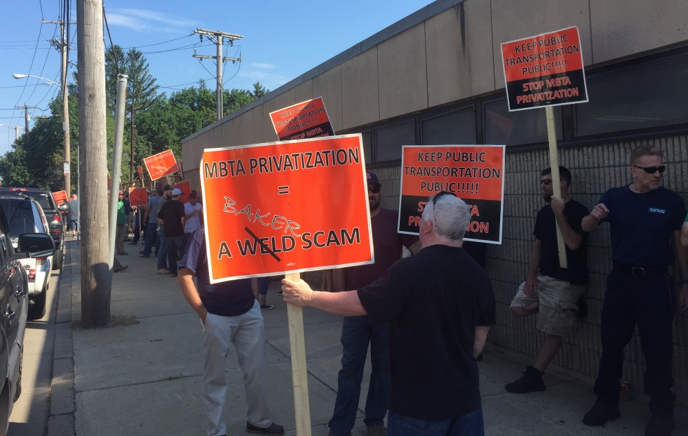 MBTA bus maintenance workers rallied last week as