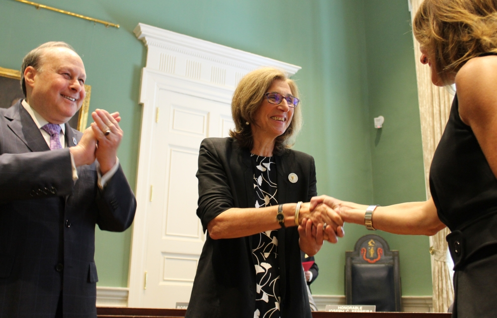 Newly-minted Sen. Cindy Friedman shook hands with