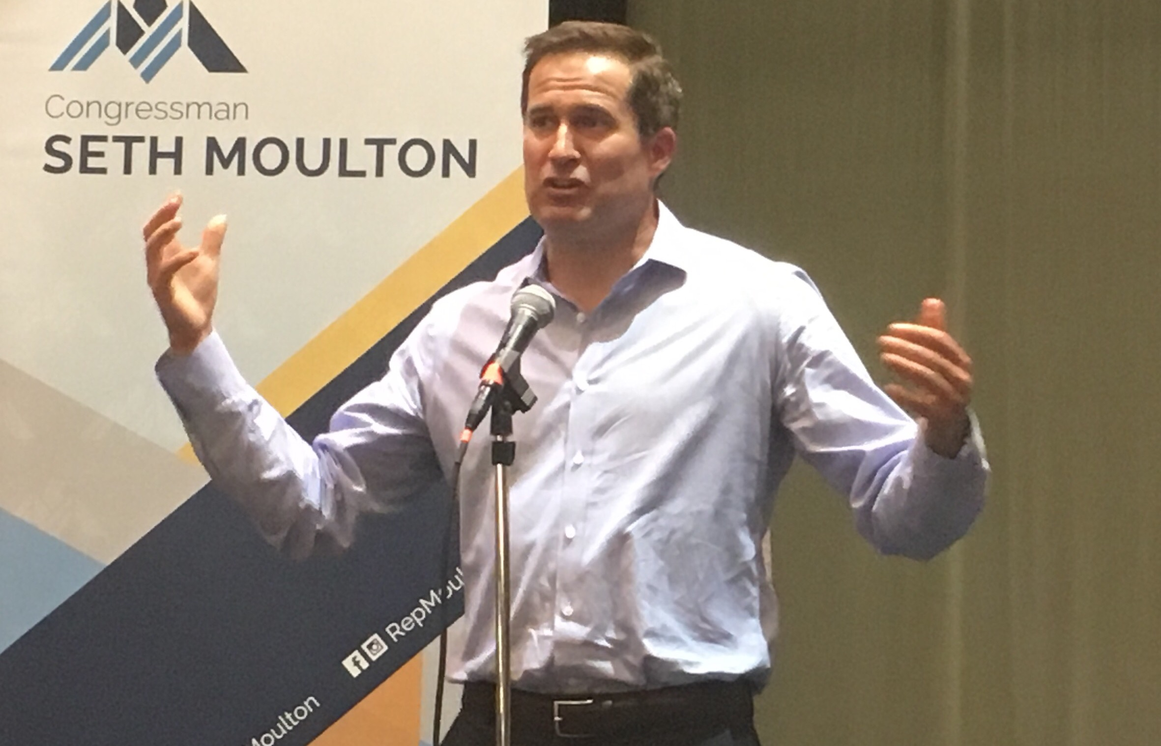 U.S. Rep. Seth Moulton spoke at a town hall event