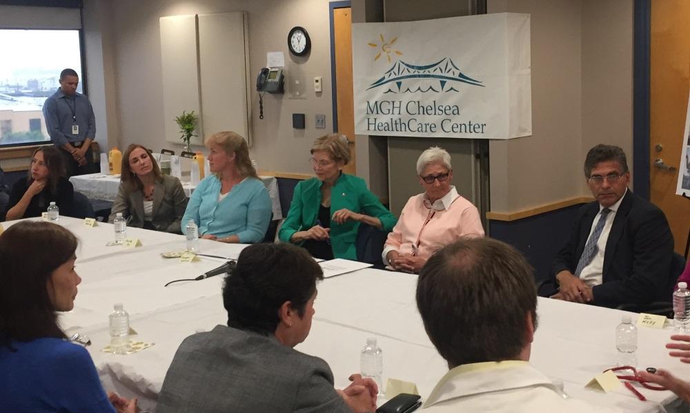 U.S. Sen. Elizabeth Warren led a roundtable discus