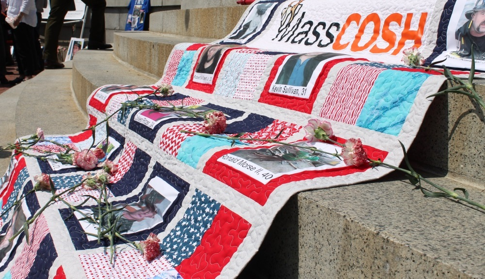 Deceased workers were remembered on a quilt at Wor