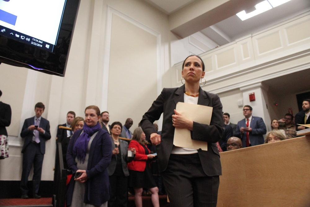 Sen. Sonia Chang-Diaz walked into an Education Committee hearing about school funding reform on March 22, 2019. [Photo: Sam Doran/SHNS/File 2019]