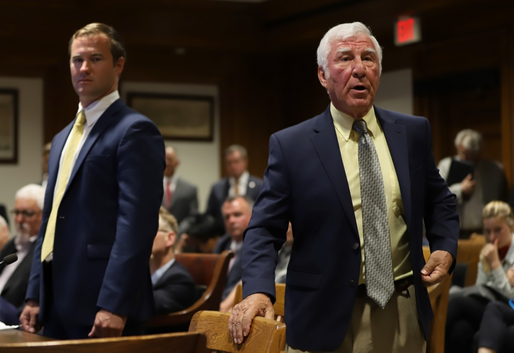 Rep. Angelo Scaccia (right) testified at a hearing in 2019 alongside Rep. Patrick Kearney. [Photo: Sam Doran/SHNS/File 2019]