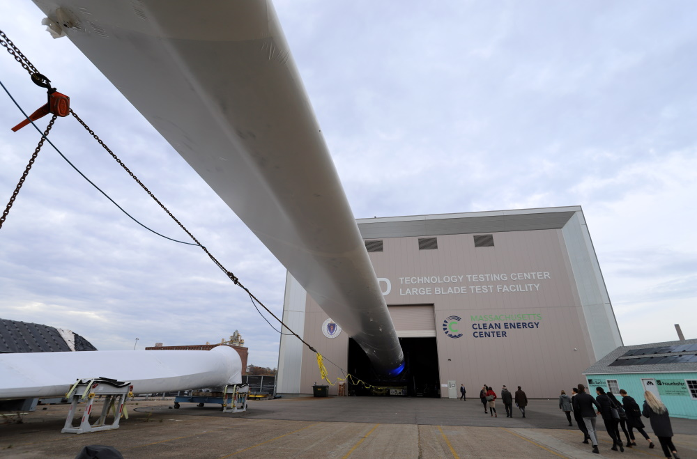 A wind blade pictured at the Massachusetts Clean Energy Center in 2019. The federal government this week green lighted  a commercial-scale offshore wind project off the coast of Martha's Vineyard. [Sam Doran/SHNS File/2019]
