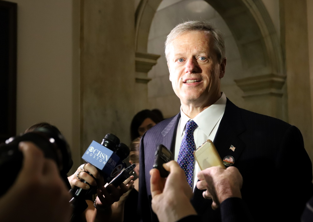 """Gov. Charlie Baker said he wants voters in the Plymouth and Barnstable District to have """"an opportunity to tune in on the state Senate race."""" [Photo: Sam Doran/SHNS]"""