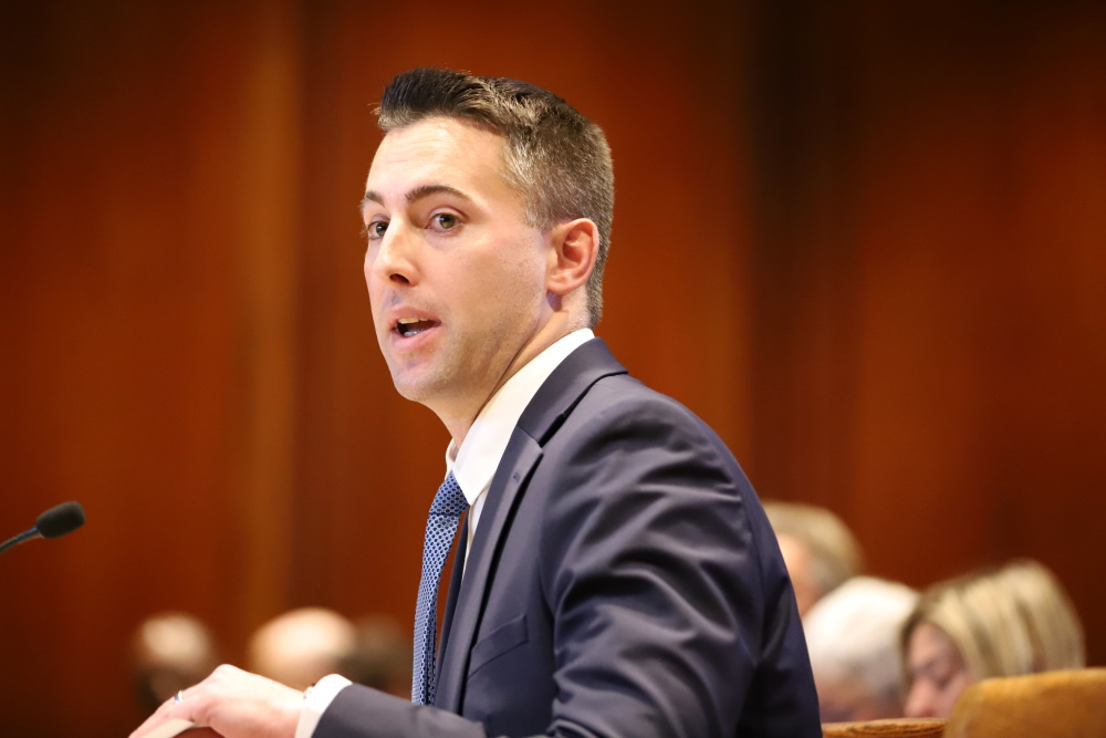 "Sen. Brendan Crighton, sponsor of highway toll legislation at Thursday's hearing, said the Bay State's transportation woes translate into ""serious challenges for our business community."" [Photo: Sam Doran/SHNS]"