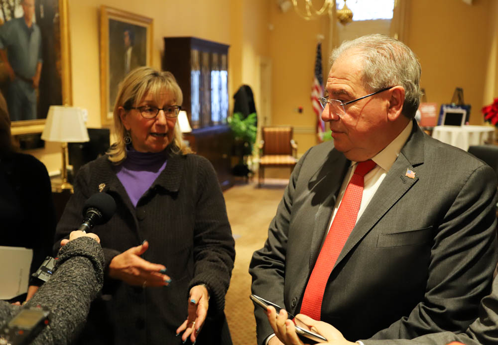 The budget impasse between the Senate and House continued this week.  President Karen Spilka and Speaker Robert DeLeo, two former chairs of the budget-writing Ways and Means Committees, met Monday with Gov. Charlie Baker, but it did not lead to a compromise. [Photo: Sam Doran/SHNS]