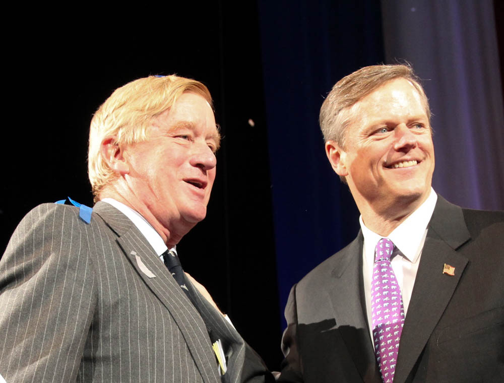 Ex-Gov. Bill Weld joined his former aide Charlie Baker on the stage of the 2014 Republican state convention, after Baker was endorsed as the party's nominee for governor. [Photo: SHNS/File/2014]