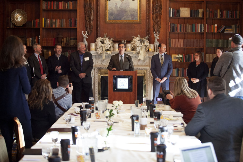 """Paul Craney, spokesman for the Massachusetts Fiscal Alliance, said """"voices are being heard"""" in opposition to the Transportation and Climate Initiative. His group hosted a press conference with other think tanks Friday at the Hampshire House. [Photo: Chris Lisinski/SHNS]"""