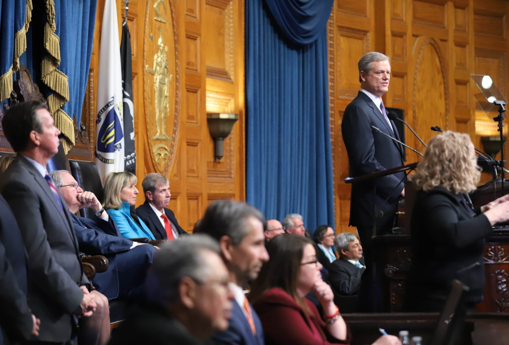 Gov. Charlie Baker delivered his annual State of the Commonwealth speech in the House Chamber on Tuesday night. [Photo: Sam Doran/SHNS]