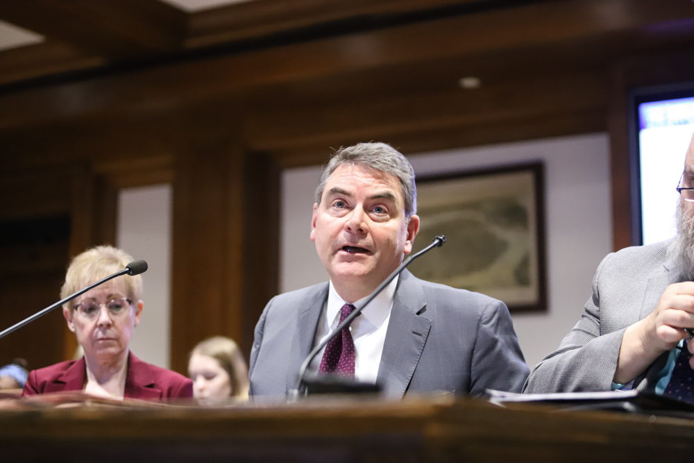"""Trial Court Administrator Jonathan Williams said at a Judiciary Committee hearing Tuesday that it is a """"generational expectation"""" to have the judicial system's technological infrastructure move into the """"modern age."""" [Photo: Chris Van Buskirk/SHNS]"""