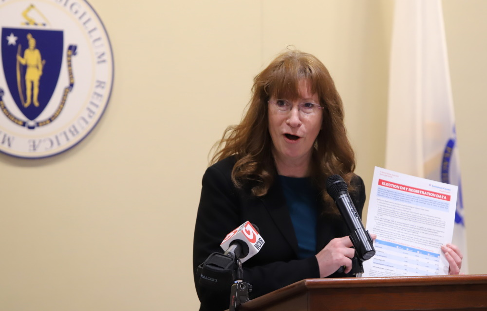 """Pam Wilmot of Common Cause Massachusetts was among the advocates and elected officials lobbying on Tuesday for Election Day voter registration as part of a legislative """"deadline push."""" [Photo: Chris Van Buskirk/SHNS]"""