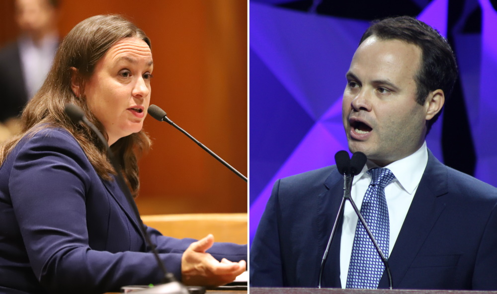 Rep. Lindsay Sabadosa and Sen. Eric Lesser found fault with MassDOT's approach to its East-West Rail study. [Photos: Sam Doran/SHNS/File]