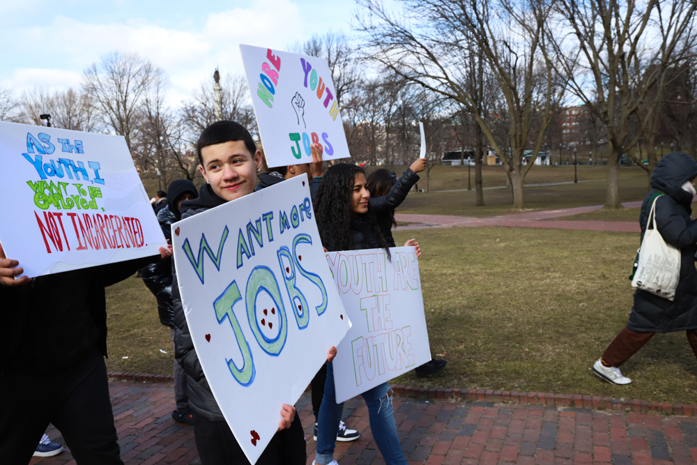 Jefferson Padilla, 16, of Boston, attended Thursday's rally with MissionSAFE to advocate for more youth jobs. [Photo: Chris Van Buskirk/SHNS]