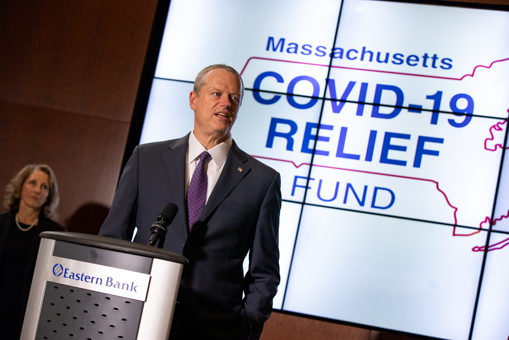 Gov. Charlie Baker announced a new statewide COVID-19 Relief Fund on Monday at Eastern Bank's headquarters in Boston's Financial District. [Photo: Sam Doran/SHNS]