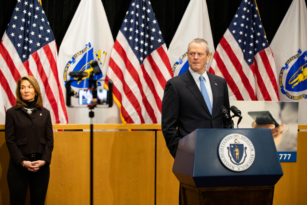 Gov. Charlie Baker said the COVID-19 surge in Massachusetts is on track to land somewhere between April 10 and April 20. [Photo: Sam Doran/SHNS]