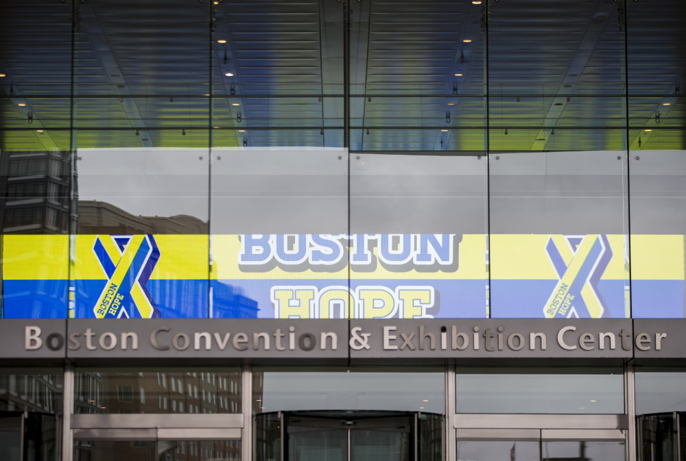 The BCEC has been temporarily rebranded as Boston Hope, the name given to the field hospital at the convention hall. (Blake Nissen/Boston Globe/Pool via SHNS)