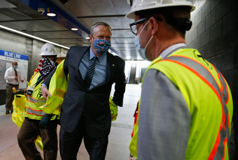 Gov. Charlie Baker visited Maverick Station in East Boston Wednesday to tour MBTA construction on the Blue Line. [Photo: Jessica Rinaldi/Boston Globe/Pool]