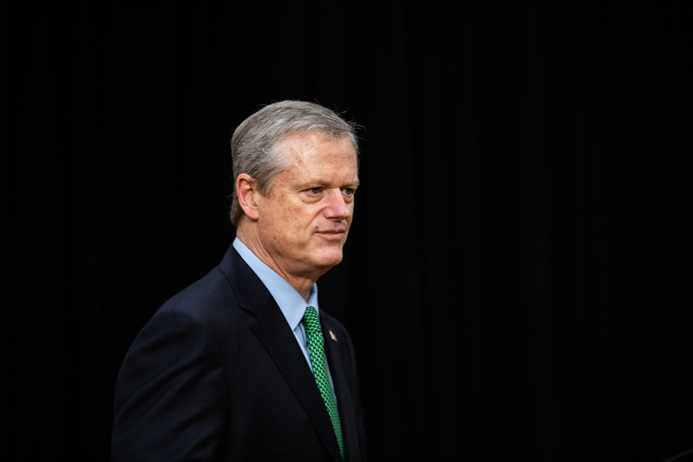 Gov. Charlie Baker announced Thursday that Massachusetts will move into the third phase of reopening on Monday. [Chris Van Buskirk/SHNS]