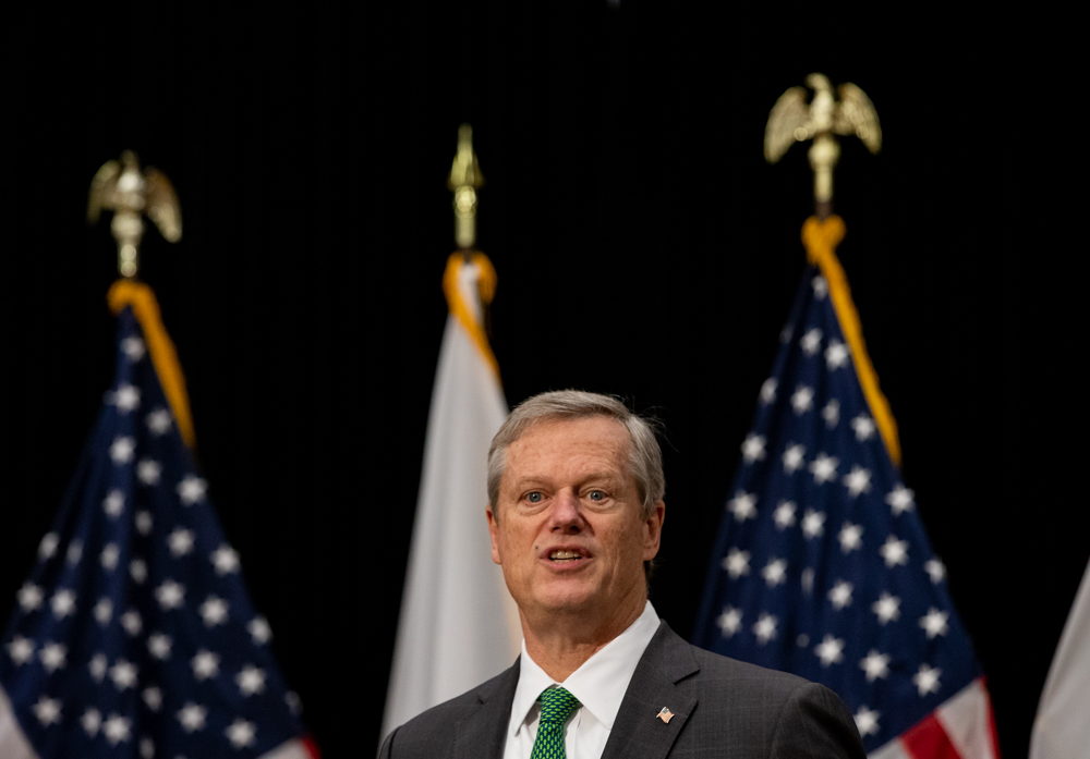 "After Gov. Charlie Baker rose to the defense of mail-in voting Thursday, and said it was ""appalling"" for an officeholder to suggest anything other than a peaceful transfer of power, he received a Twitter jab around 7:30 a.m. Friday from President Donald Trump. [Sam Doran/SHNS]"