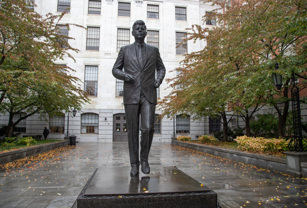 The statue of President John Kennedy in front of a locked State House entryway was sculpted by Isabel McIlvain and unveiled in 1990. [Sam Doran/SHNS]