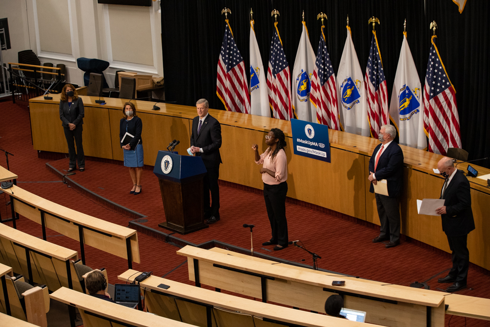 Gov. Charlie Baker, joined by three of his Cabinet secretaries and the lieutenant governor, detailed an economic recovery plan Thursday that includes millions of dollars in small business grants. [Sam Doran/SHNS]