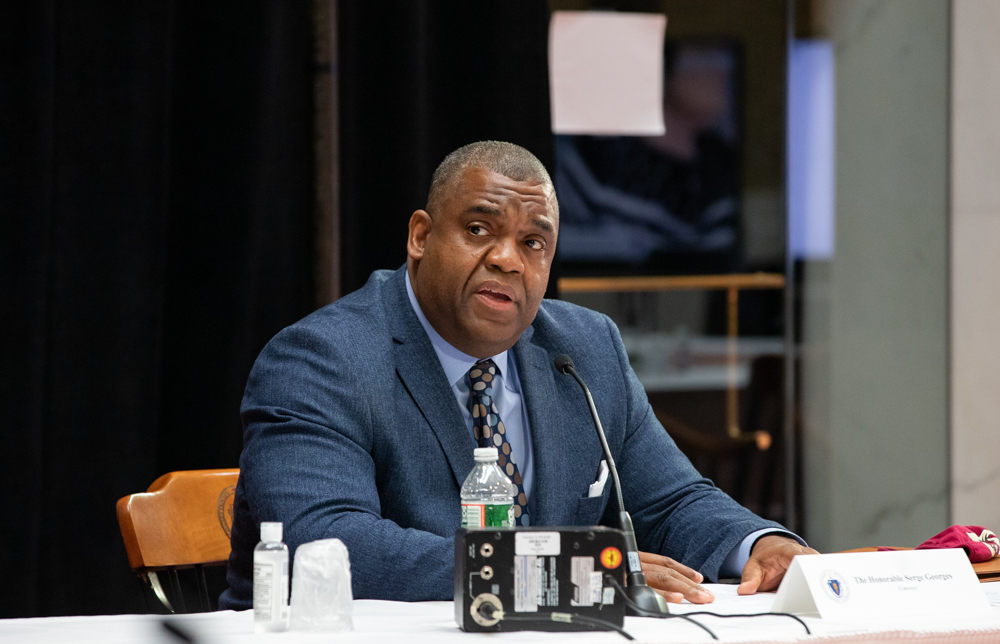 Supreme Judicial Court nominee Serge Georges Jr. fielded questions from Governor's Council members at a public interview Wednesday. [Sam Doran/SHNS]