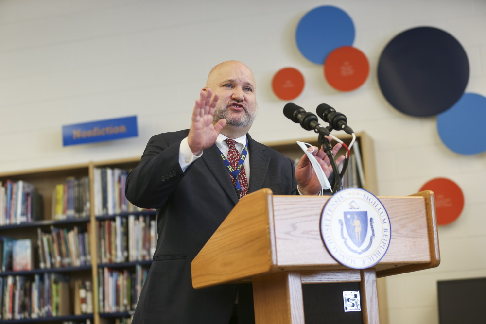 Education Commissioner Jeffrey Riley speaks at a press conference on Feb. 26 during a visit to the Nock-Molin Middle School in Newburyport. [Nicolaus Czarnecki/Boston Herald/Pool]