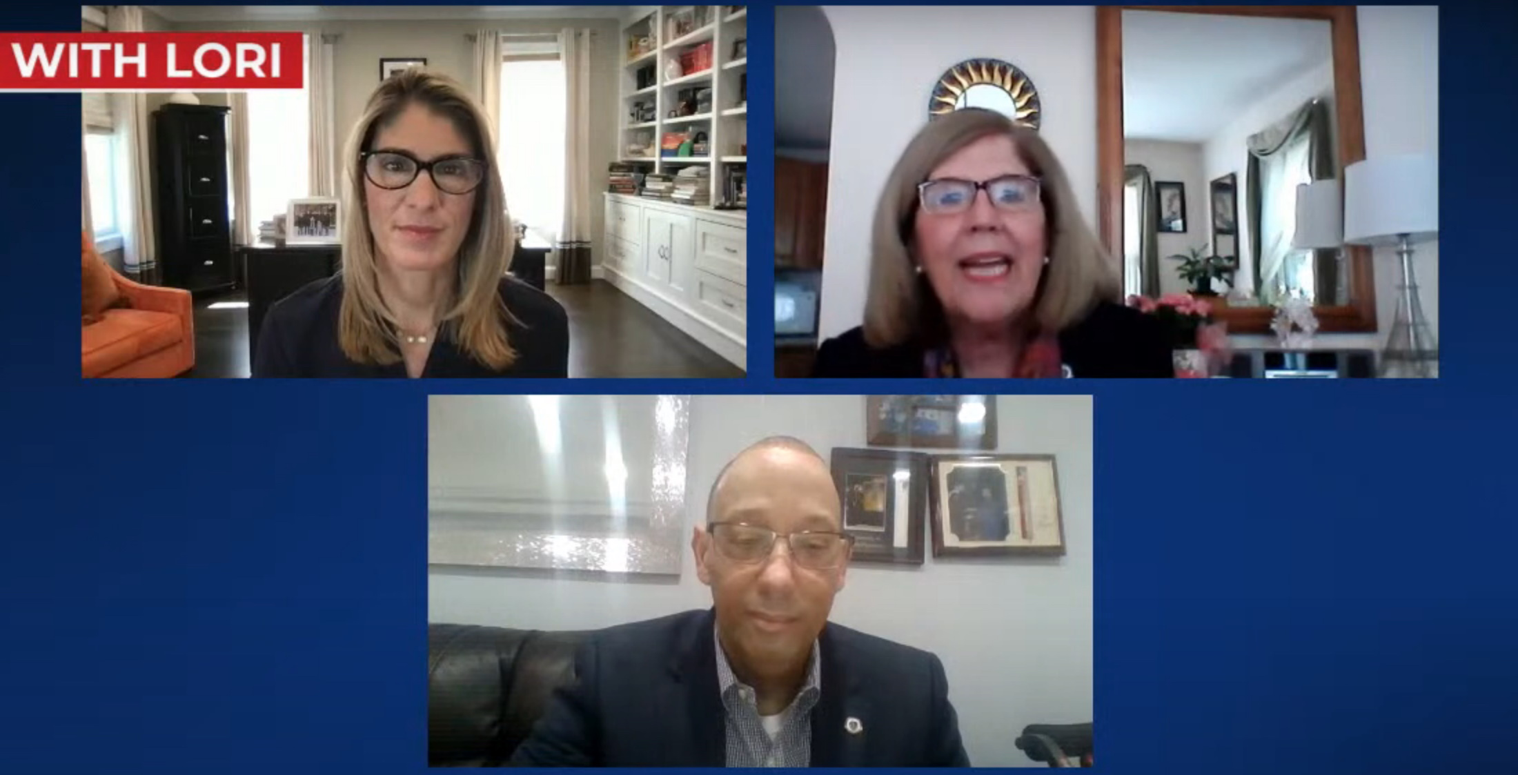 """House Speaker Pro Tempore Kate Hogan (top right), appearing in a livestream discussion with Congresswoman Lori Trahan (top left) and Rep. Frank Moran, said federal stimulus funding will function as """"the hand of recovery."""" [Screenshot]"""