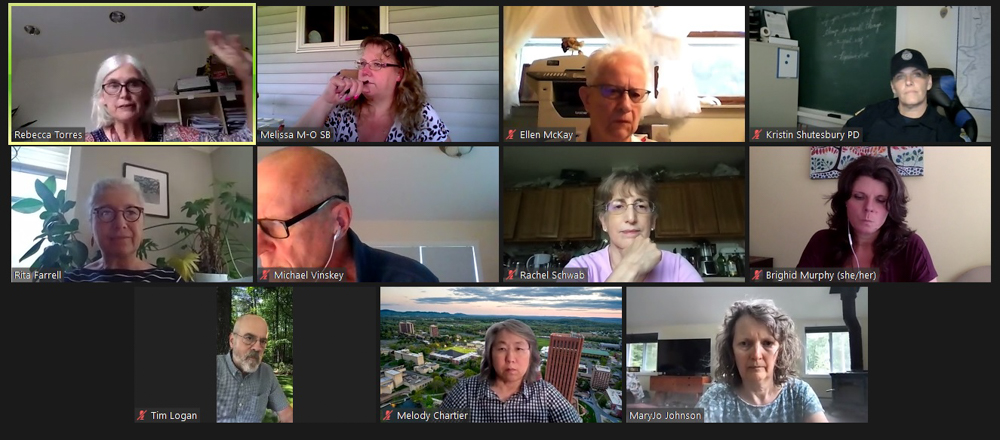 Officials and residents from Shutesbury gathered via Zoom Thursday night for a meeting of their select board's police study group. Shutesbury Town Clerk Grace Bannasch is among the local officials wondering what the future will hold for remote meeting access. [Screenshot]