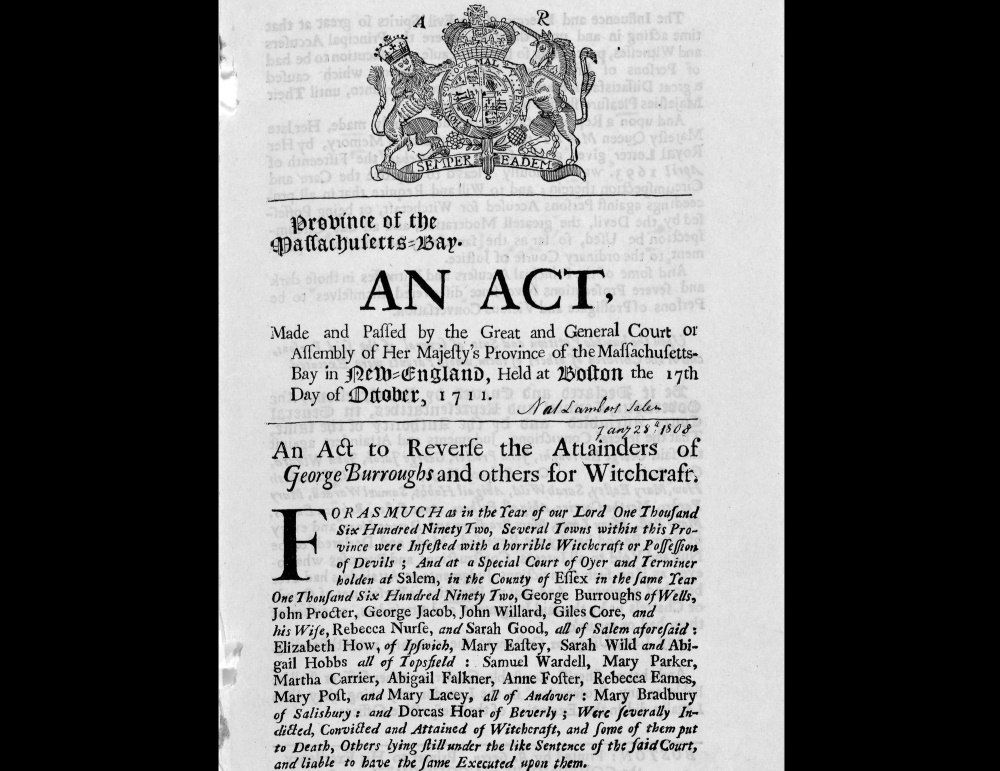 A 1711 law reversed convictions from the 1692 witchcraft trials, specifically naming 22 individuals. Lawmakers over the years have cleared the names of several others accused of witchcraft, and a bill before the Judiciary Committee would do the same for Elizabeth Johnson Jr. [Courtesy/Library of Congress]