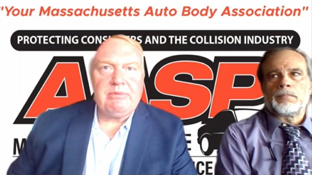 """Guy Glodis, a lobbyist working with the Alliance of Automotive Service Providers of Massachusetts, said the issue of reimbursement rates for auto body shops was """"a major, major issue"""" when he chaired the Committee on Insurance in 2003-04 and still needs to be addressed by Beacon Hill. Testifying with Glodis was AASP-MA Executive Director Evangelos """"Lucky"""" Papageorg. [Screenshot]"""