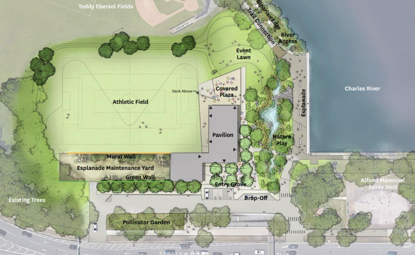 The Charlesbank Landing project features a new visitors center, the park's first year-round public restrooms, and more than 70,000 square feet of landscape improvements. [Michael Van Valkenburgh Associates/via the Esplanade Association]