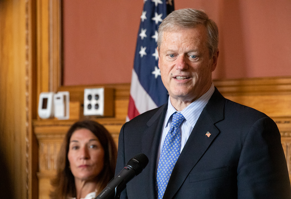 Gov. Charlie Baker answers reporters' questions Monday after a State House meeting with legislative leaders. [Sam Doran/SHNS]