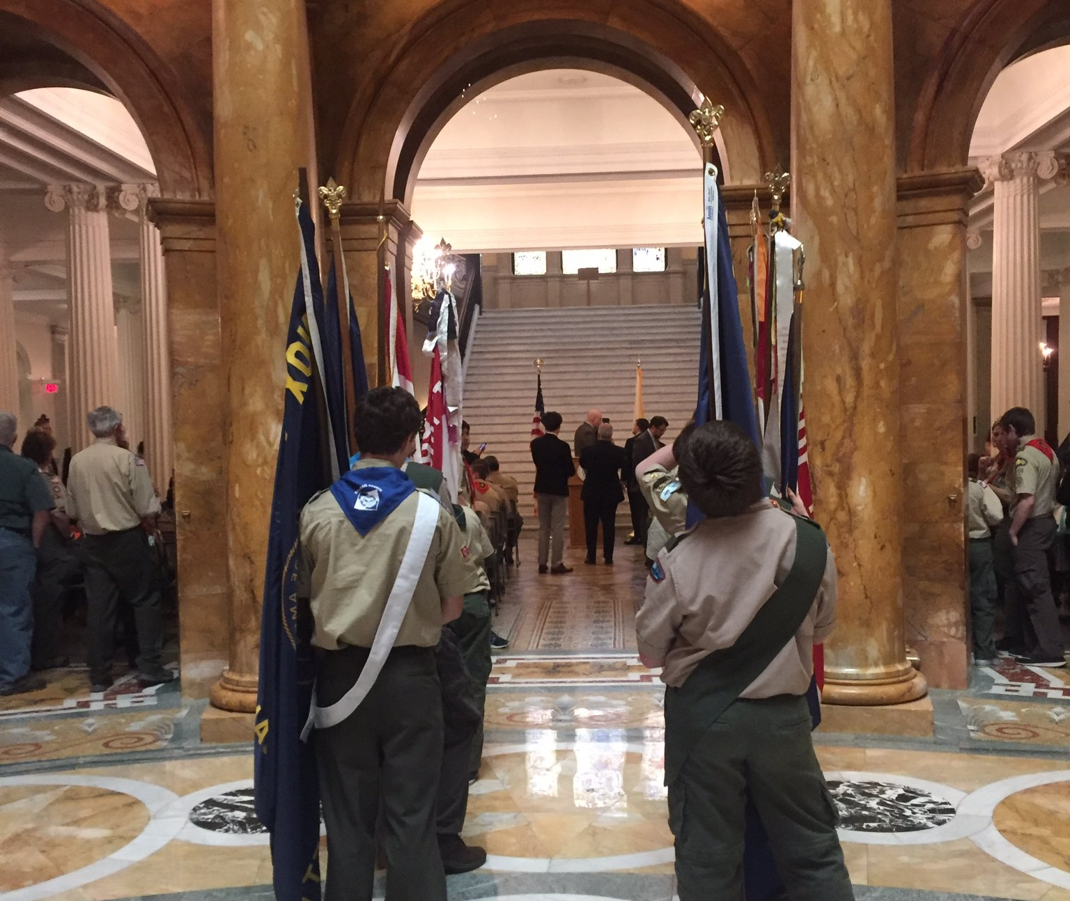 Boy Scouts waited to post the colors at the Grand
