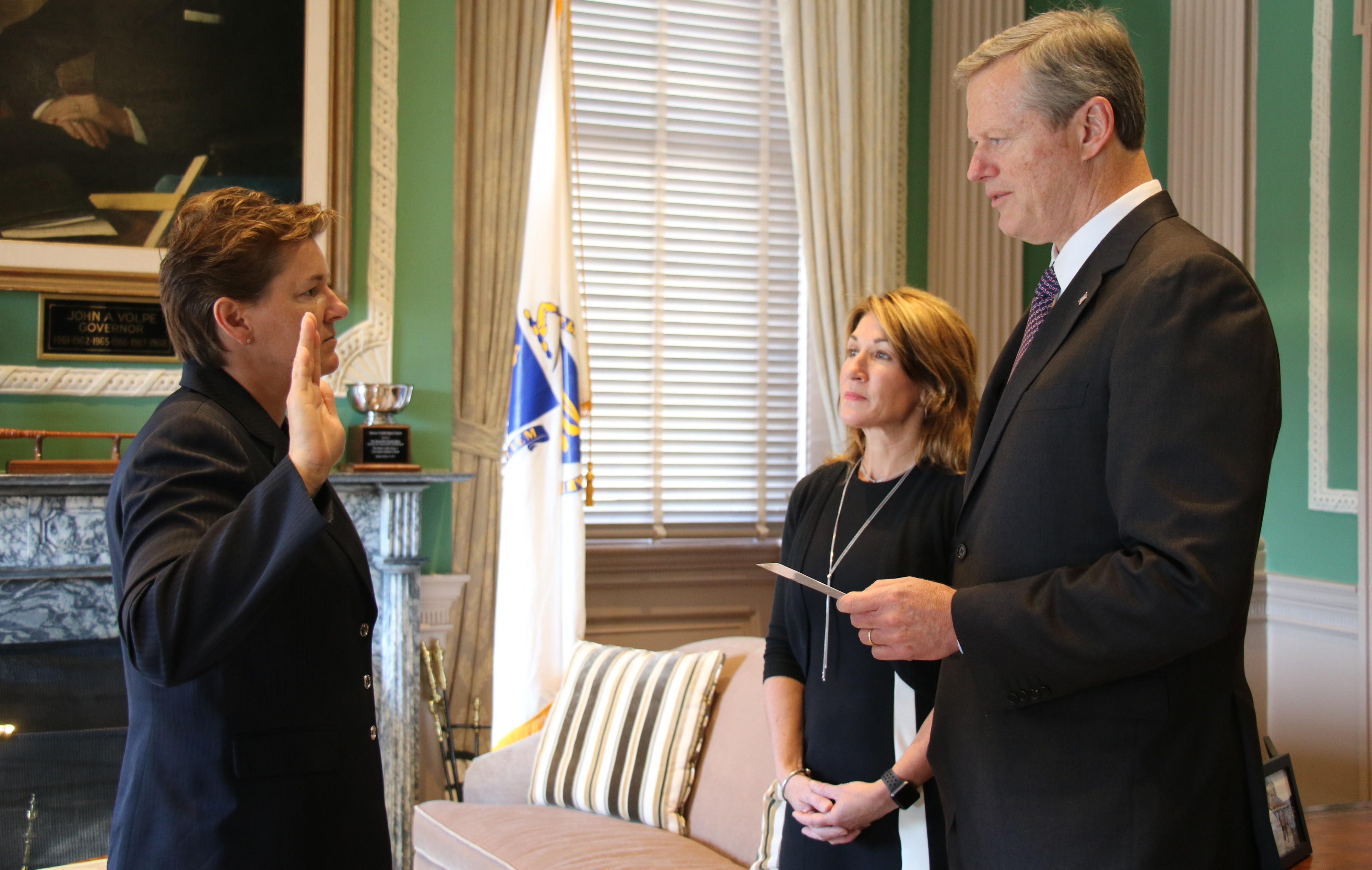 Charlie baker swore in new state police superintendent col kerry gilpin in a ceremony wednesday which was not open to press photo courtesy governor s